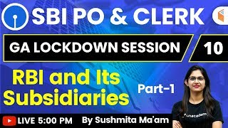 5:00 PM - SBI PO & Clerk 2020   GA by Sushmita Ma'am   RBI and Its Subsidiaries (Part-1)