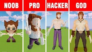 Minecraft NOOB vs PRO vs HACKER vs GOD: WOLVERINE LOGAN STATUE HOUSE BUILD CHALLENGE in Minecraft