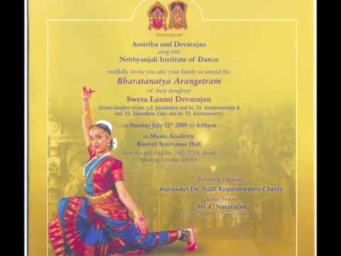 Sweta Devarajan Arangetram Invite YouTube