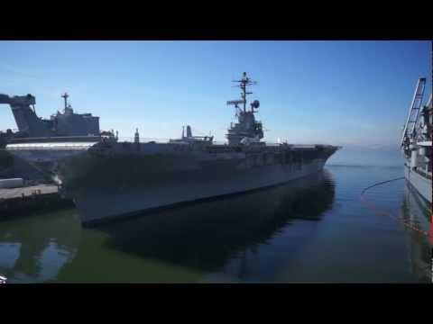 Aerial View of USS Hornet Aircraft Carrier