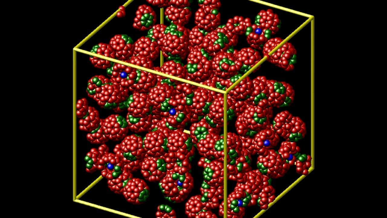 LAMMPS molecular dynamics of C60 buckminsterfullerenes
