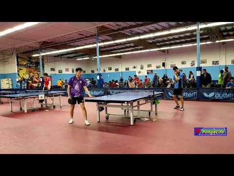 Men's Semi-Final: Ma Jinbao (2737, purple) vs Tian Ye (2582) at ICC Butterfly Open on 2018-12-9
