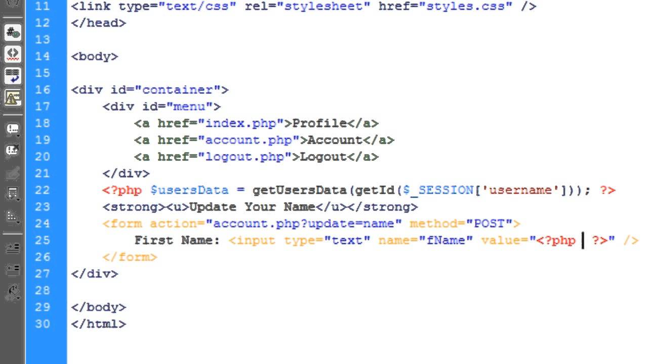 PHP Profile System Setting Up The Account Page Part 6