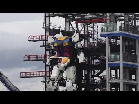 Gundam robot Yokohama, Japan walk testing! #gundam #robot #robotics