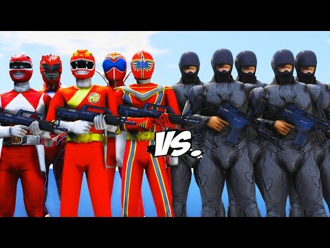 All Red Power Rangers Vs RoboCop Army - Epic Battle