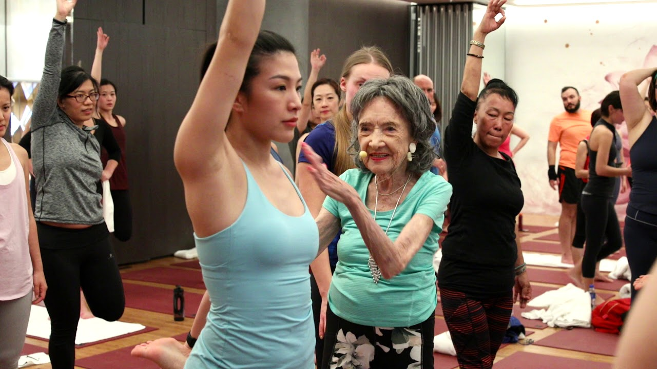 Tao Porchon Lynch A Huge Impact On Our Yoga Community At Pure Yoga Pacific Place Youtube
