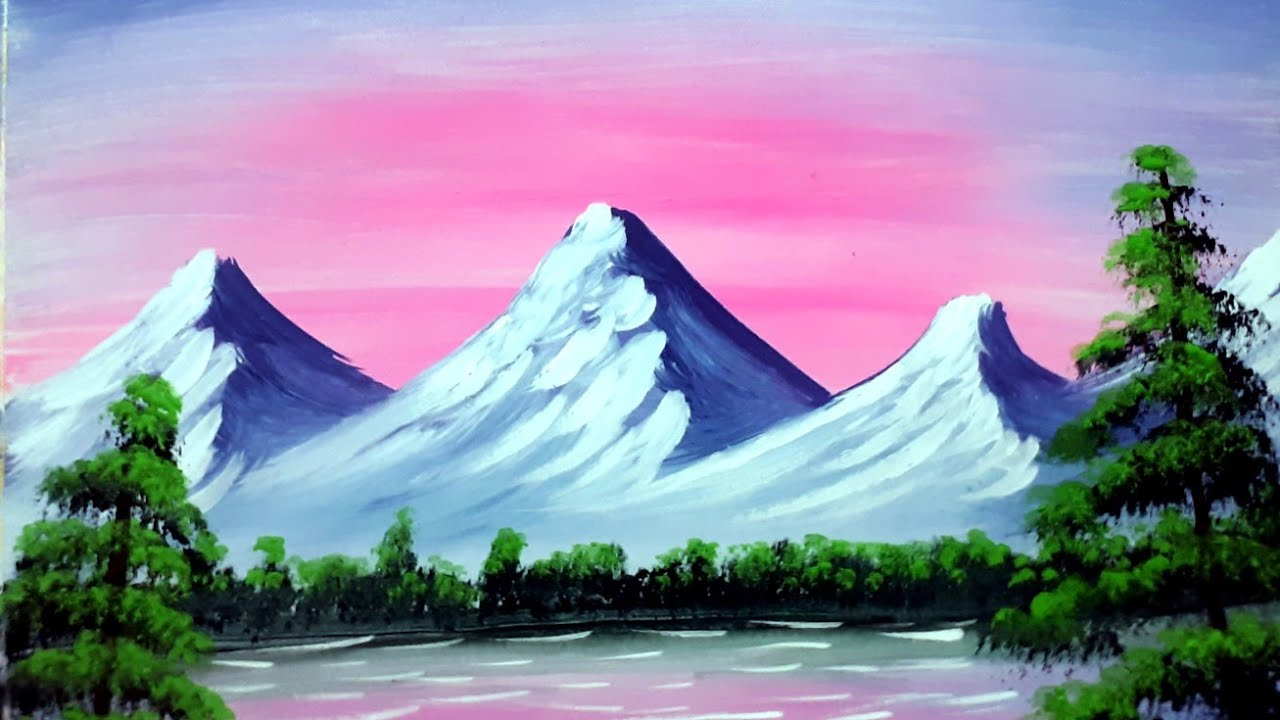 pink sky and mountain landscape nature senary painting for beginners in  watercolour step by step
