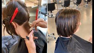 Layered Bob Haircut Tutorial for Curly hair & Short Bob haircut for women