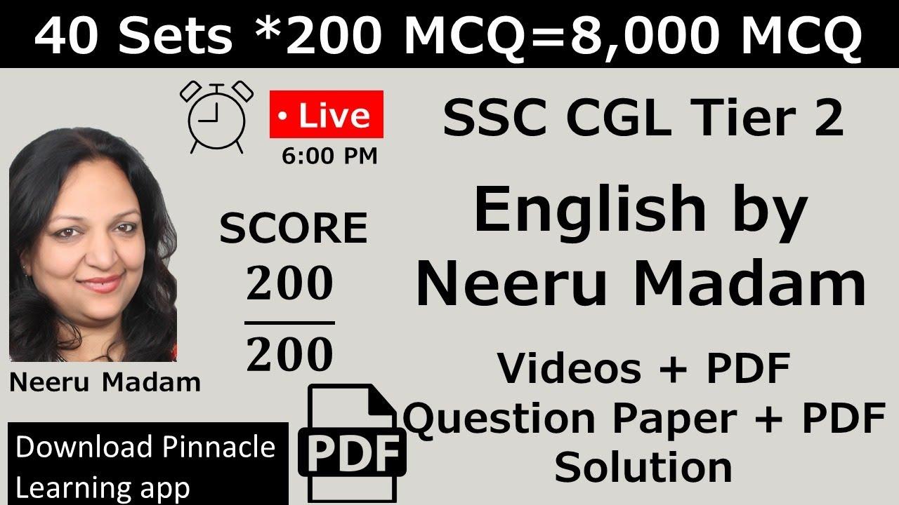 SSC CGL Tier 2 Practice set : English master class by Neeru Madam
