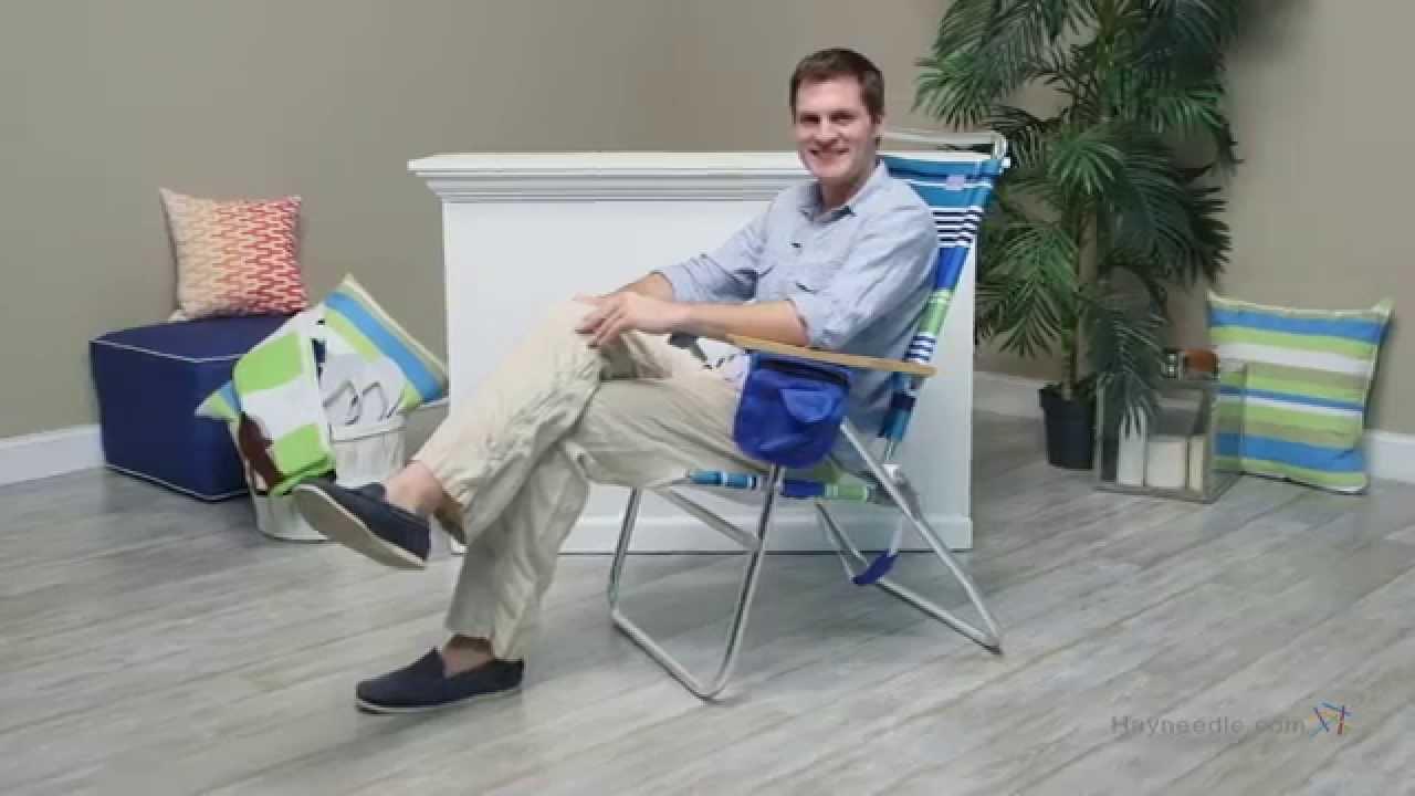 rio hi boy beach chair swell blue green stripe