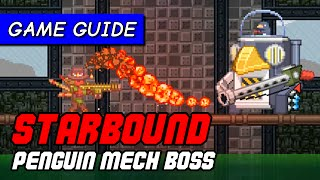 How to kill Shockhopper Penguin Mech Boss with ranged combat player | Starbound game guide