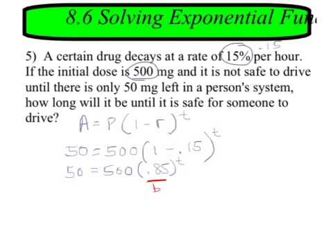 86 Solving Exponential Equations In Word Problems Youtube