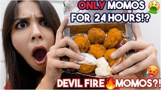 I eat ONLY Momos for *24 HOURS* Devil Fire Momos, Kurkure Momos, Chocolate Momos & More | Heli Ved