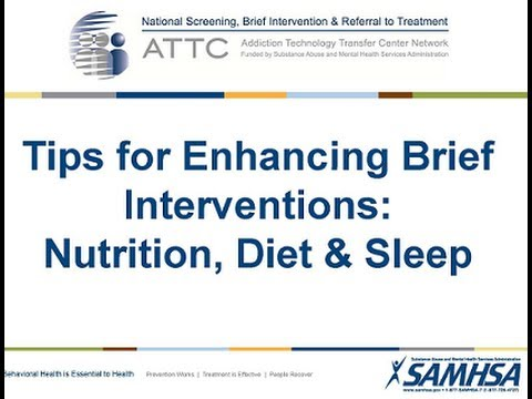 Tips for Enhancing Brief Interventions - Nutrition, Diet and Sleep