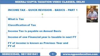V 01 Income Tax Quick Revision Video Number 01 (Neeraj Gupta Taxation Video Classes)(Details :www.ngpaeducation.com Video Number 01 covers What is tax, Concept of PY & AY, Five Heads of Income (Chapter – Basics of Income Tax). Created ..., 2016-11-11T09:59:02.000Z)