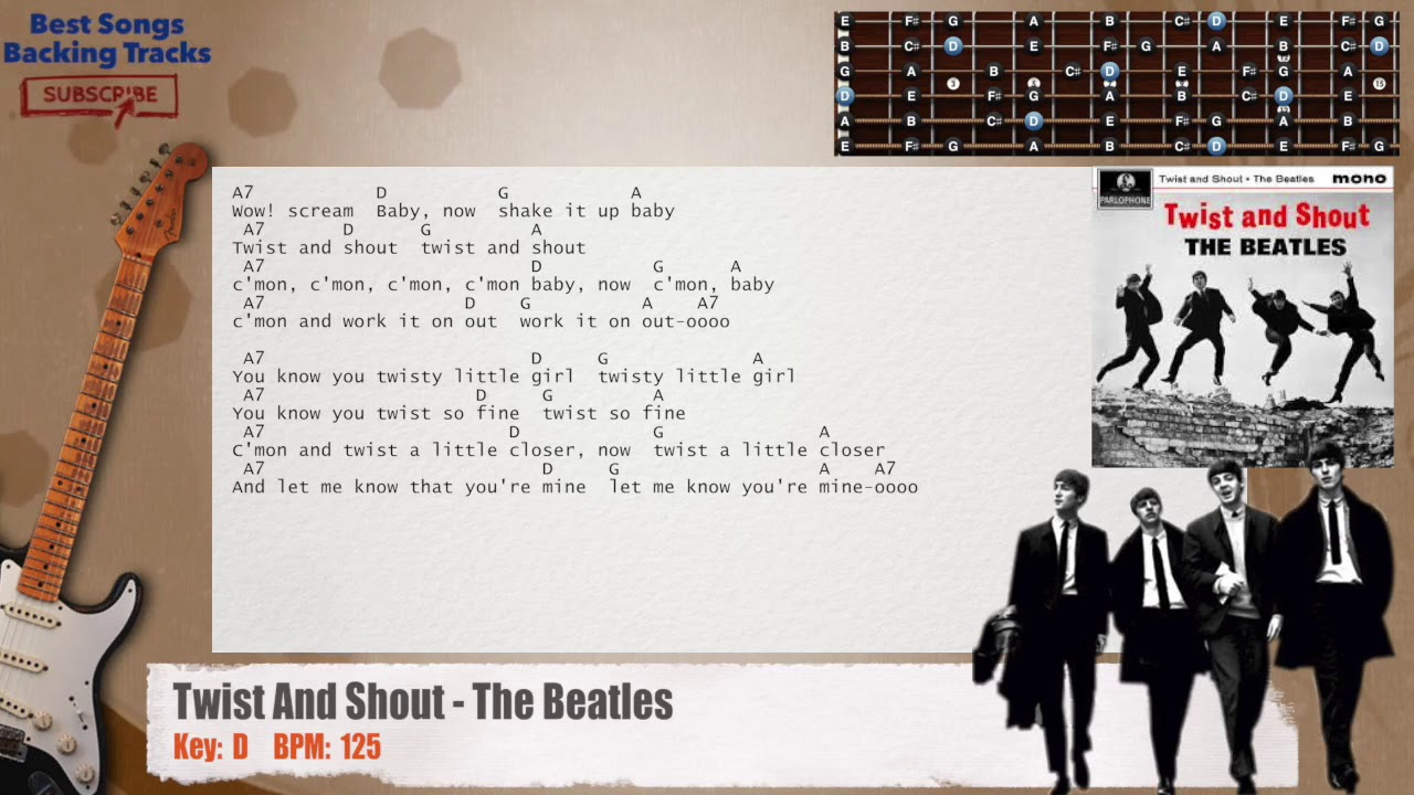 Twist And Shout The Beatles Guitar Backing Track With Chords And