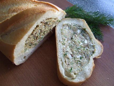 Фаршированный батон пшеничного хлеба