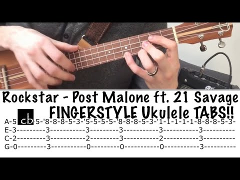 ROCKSTAR FINGERSTYLE Ukulele TUTORIAL (Post Malone ft. 21 Savage)