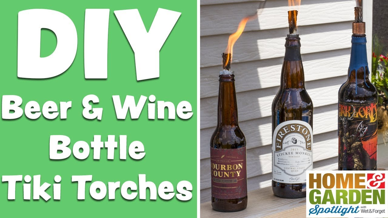 Diy how to make beer wine tiki torches youtube for Diy beer bottle tiki torches