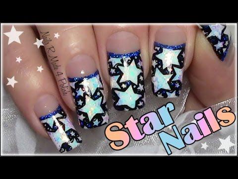 glitzer-nägel-mit-sternen-/-stamping-nageldesign-silvester-/-star-nail-art-new-years-eve