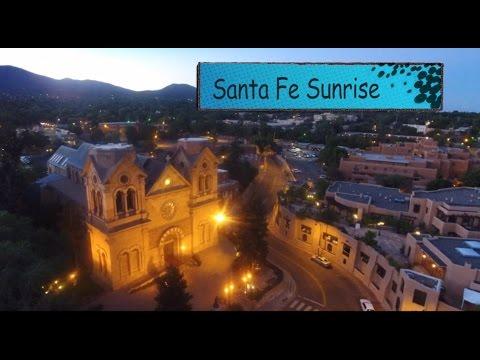 Aerial Drone Santa Fe Sunrise Video, Basilica, Loretto Chapel, Plaza and Galleries