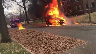 CAR ON FIRE!! (Firefighters put out flames)
