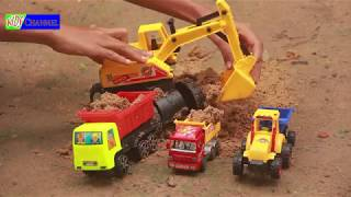 Excavator saving flooding truck in the river | Play toys truck and Excavator.