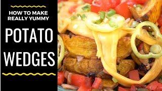 Homemade Potato Wedges   Topping   Cheddar sauce   #DoStathi #20K3M