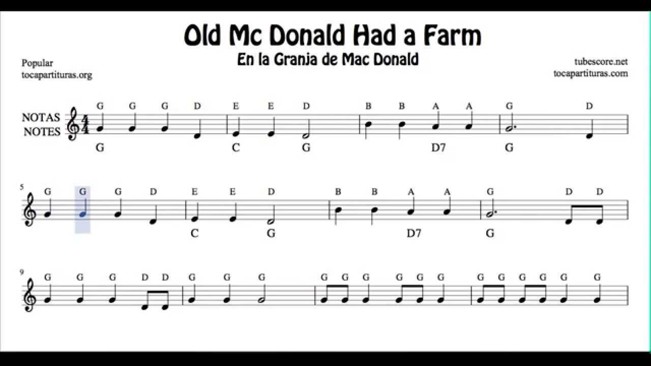Old Mc Donald Had a Farm Free Notes Sheet Music for ...