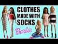 How to make Barbie Clothes with Socks. DIY Dress, Skirt and Sweater
