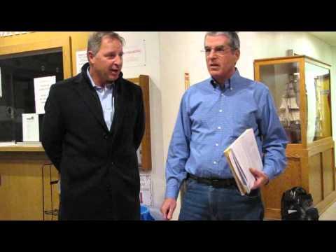 Larry Simms outside Riverhead IDA meeting on aquarium tax breaks