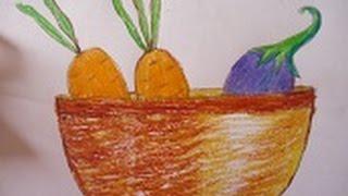 easy drawing for kids ,vegetables basket drawing in simple steps