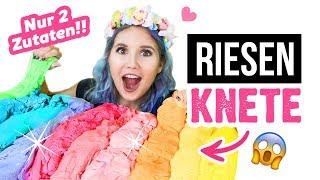 RIESEN KNETE! Mit nur 2 Zutaten! 😜 Wie macht man schnell selber Knete! Deutsch