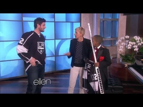 Jonathan Quick greets fan on The Ellen DeGeneres Show