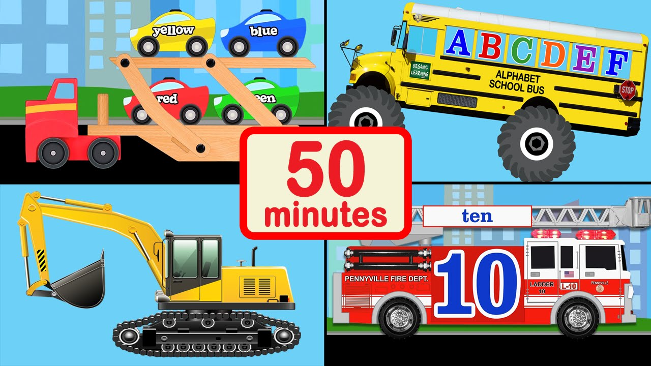 Vehicle Car And Truck For Kids Collection 50 Mins Of Baby Toddler Preschool Learning Videos You