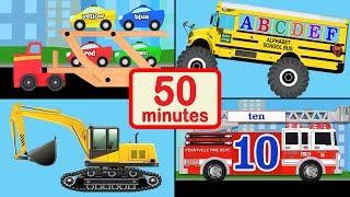 Vehicle, Car, and Truck for Kids Collection - 50 Mins of Baby, Toddler, Preschool Learning Videos
