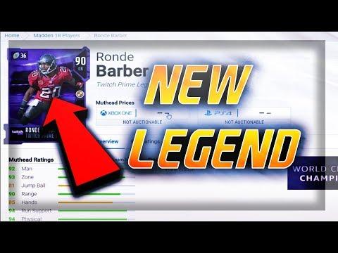 NEW LEGEND RONDE BARBER!!! NEW LEGEND TO MUT 18  MADDEN 18 ULTIMATE TEAM TWITCH PRIME LEGEND