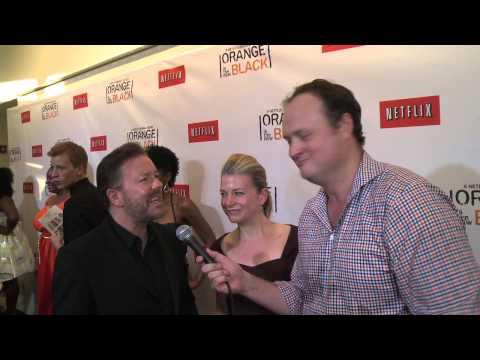 Ricky Gervais smashes big sweaty reporter, Brad Blanks