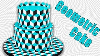Optical Illusion Geometric Cake Tutorial by Cookies Cupcakes and Cardio
