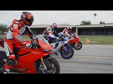 2015 SUPERBIKE DRAG RACE: BMW S1000RR Vs. Ducati 1299 Panigale S Vs. Yamaha YZF-R1