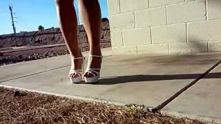 Sexy girl walking in high heels