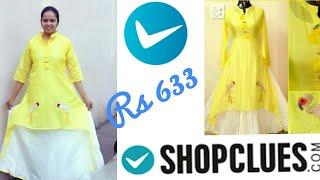 Shopclues online shopping review & haul || chanderi cotton yellow kurti review rs 633