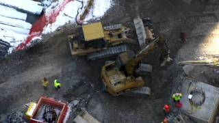 Cat 312CL excavator & Cat 963C track loader working