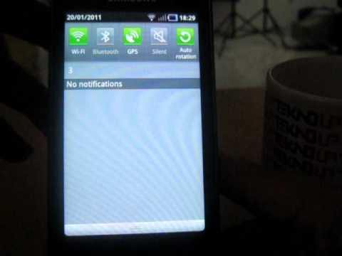 Antar Muka pada Samsung Galaxy S (Super Clear LCD)