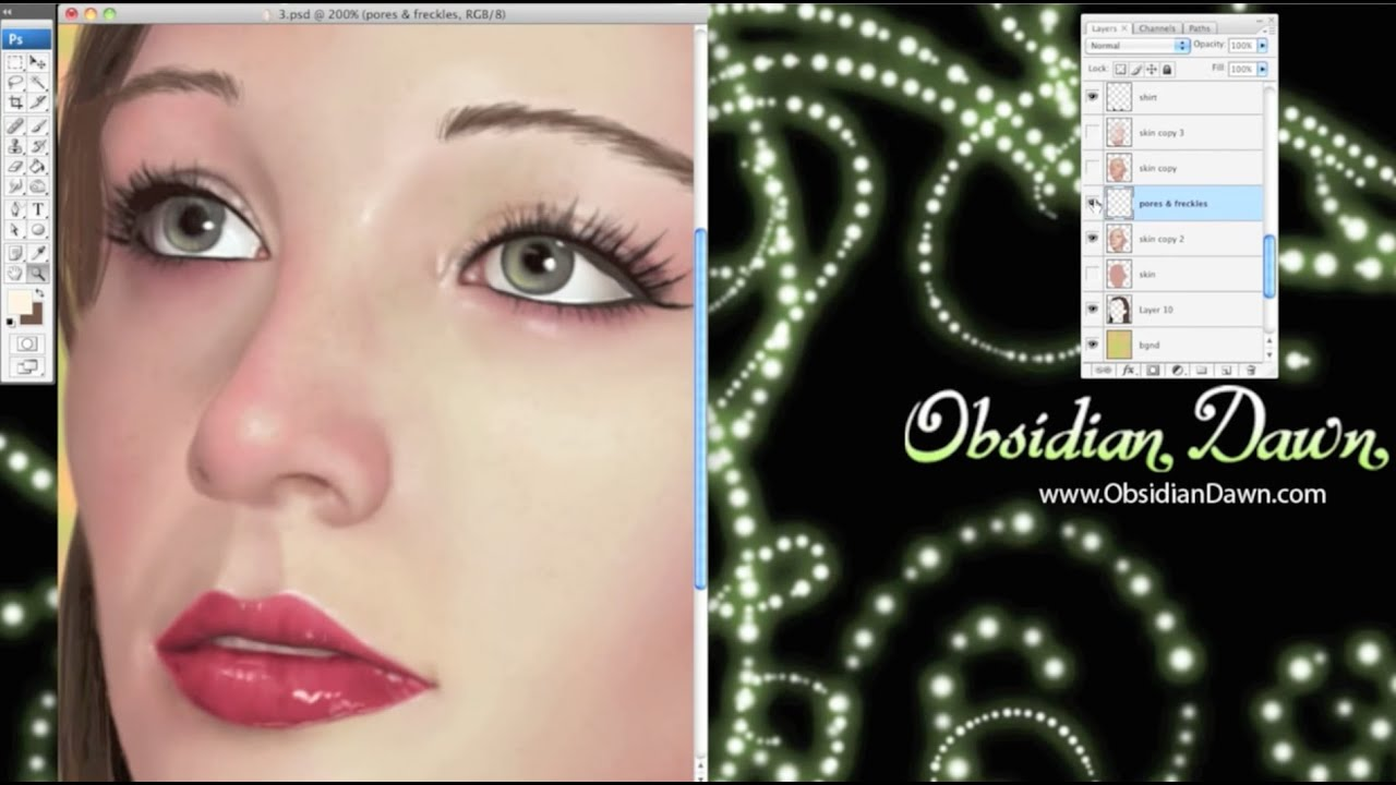 Photoshop Realistic Skin Textures Tutorial and Brushes - YouTube
