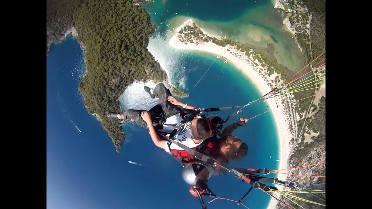 Paragliding acrobatic death spin  Babadag mountain 6000ft over Oludeniz,  Turkey June 2013