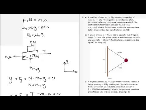 Forces and Friction Exam Tutorial - Physics Undergrad and A-Level