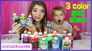 3 Colors Of Glue Slime Challenge! / JustJordan33