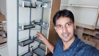 Kitchen-में! Pantry Unit कैसे fitting करते हैं? install SS Glass Baskets ग्लास पैंट्री यूनिट Pullout screenshot 5