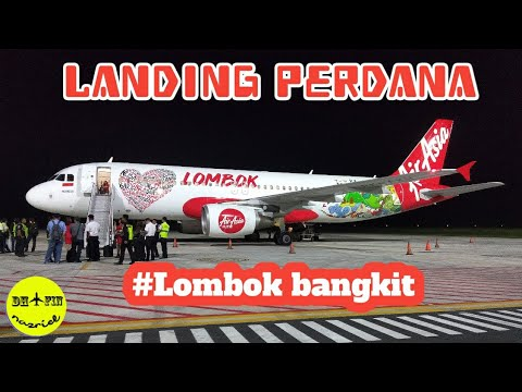 Landing Perdana Air Asia Indonesia in Lombok International Airport
